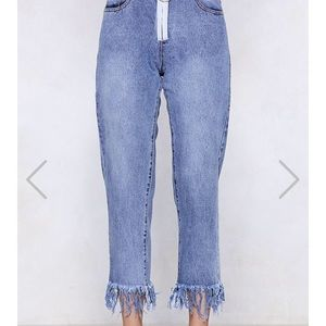 Trendy frayed jeans
